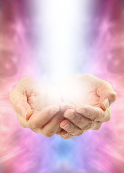background image-hands with light