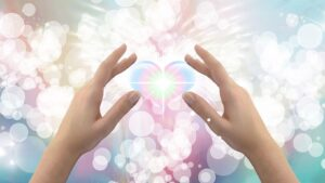 ethereal heart in hands angelic background